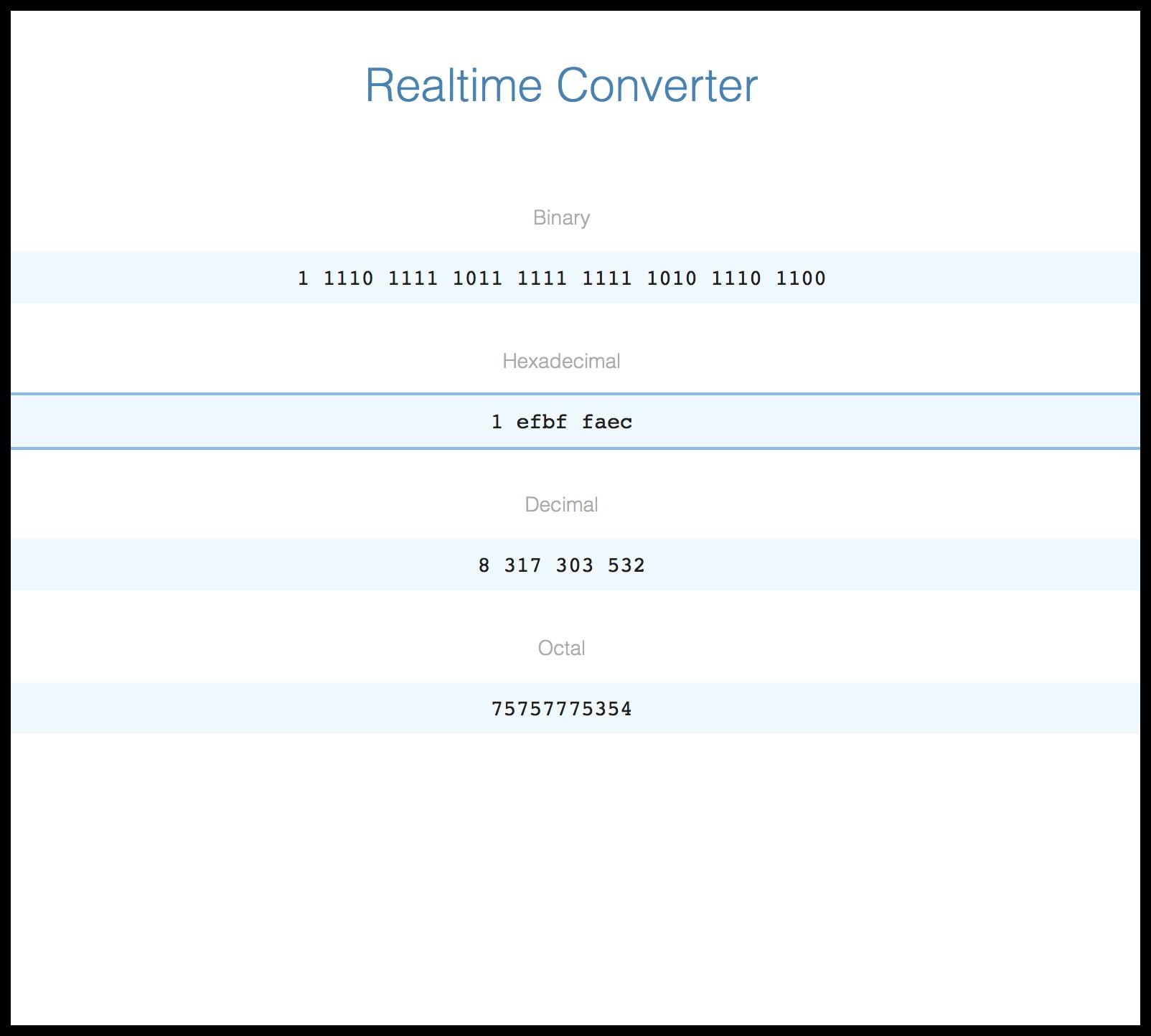 Realtime Hex Bin Dec Converter