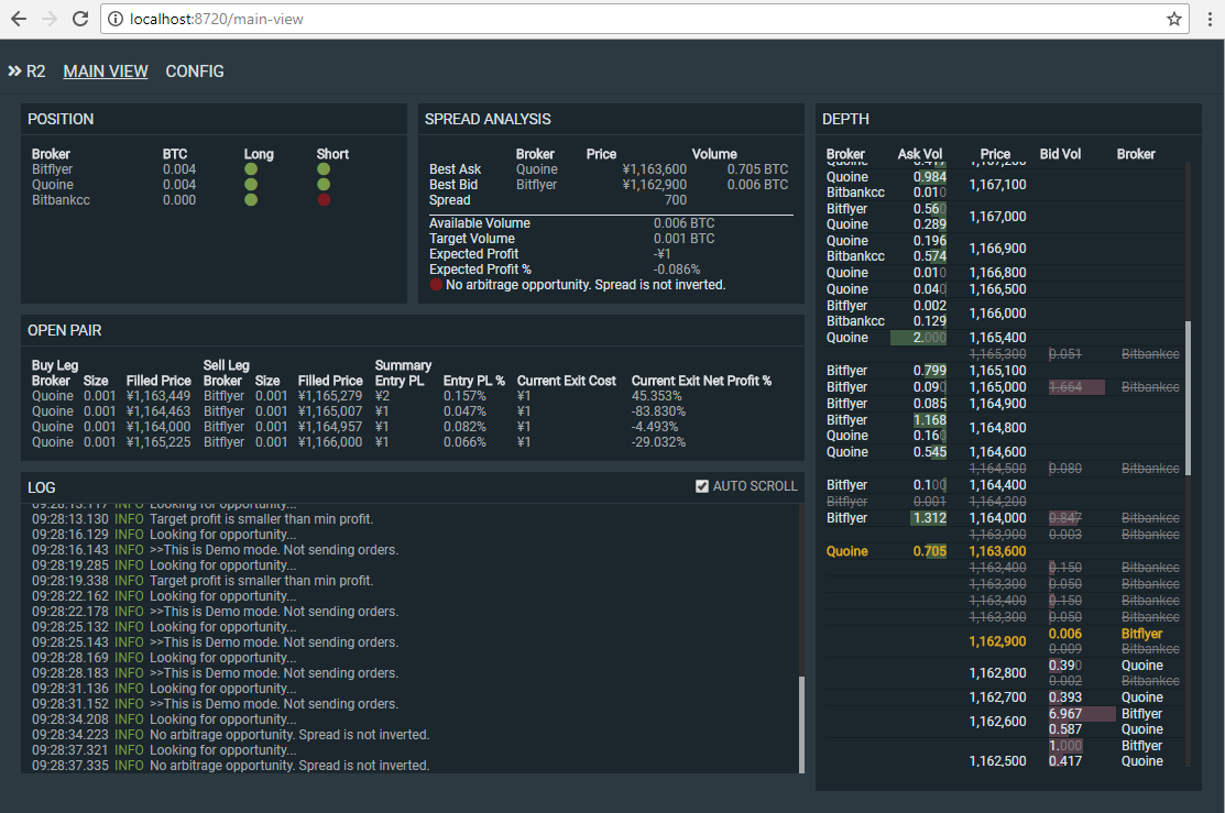 R2 Bitcoin Arbitrager is an automatic arbitrage trading system powered by Node.js + TypeScript.