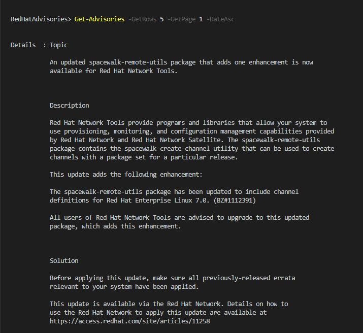 RedHat Advisory情報(セキュリティ情報) 取得用 PowerShellスクリプト