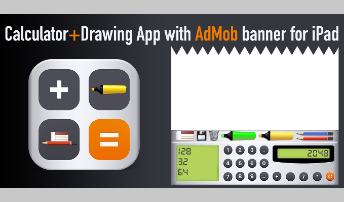 Calculator + Drawing App with AdMob banner for iPad