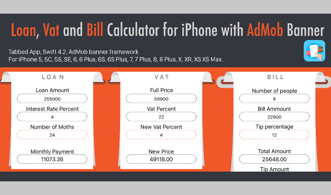 Loan, Vat and Bill Calculator for iPhone with AdMob Banner