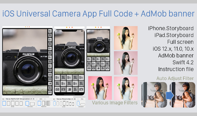 iOS Universal Camera App Full Code for iPhone and iPad + AdMob banner