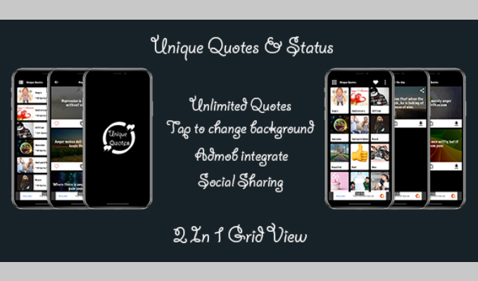 Unique Quotes Status Android App with Admin Panel