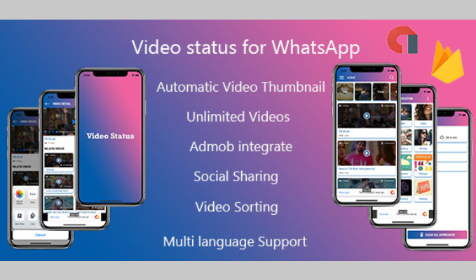 Multiple Language Video Status Android App with Admin Panel