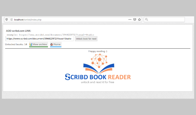 Scribd books reader and unlocker